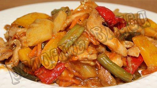 Курица с овощами в кисло сладком соусе по - китайски