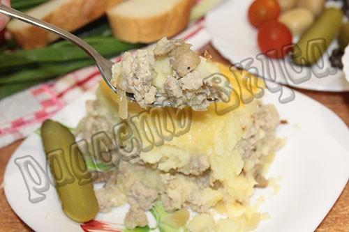 Картофельная запеканка с фаршем и грибами, вкусное и простое блюдо на ужин