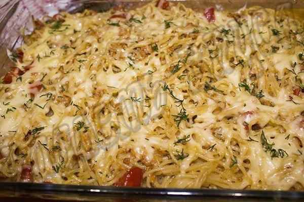 Спагетти (паста) с фаршем и мексиканским соусом Така.