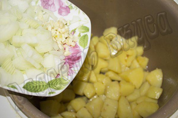 Тушеная картошка с тыквой и мясом