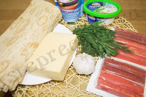 Рулет из лаваша с творожным сыром и крабовыми палочками