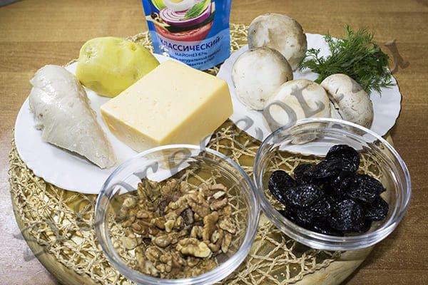 Салат курица с черносливом и грецким орехом