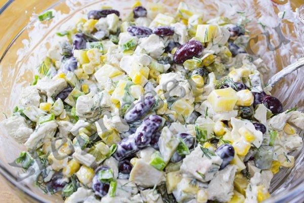 Салат «Мужской каприз» с кукурузой и фасолью