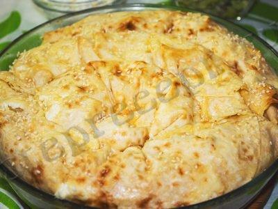 Ленивая Ачма из лаваша с сыром и творогом