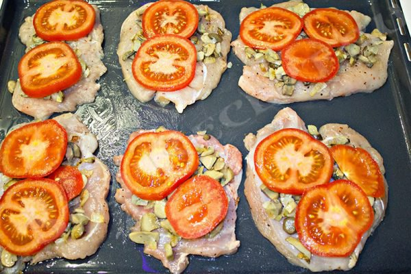 куриные отбивные с грибами в духовке