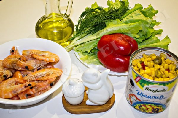 салат из очищенных креветок простой и вкусный