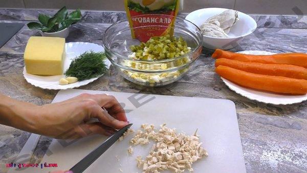 рецепт салата мандаринки с курицей