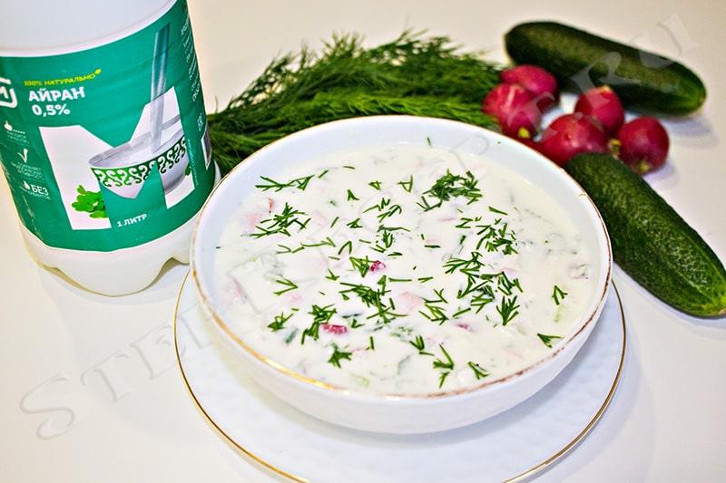 окрошка на айране рецепт с колбасой