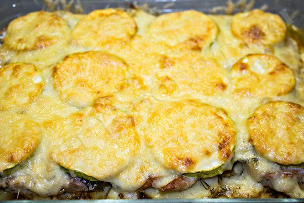 картошка с кабачками и мясом в духовке