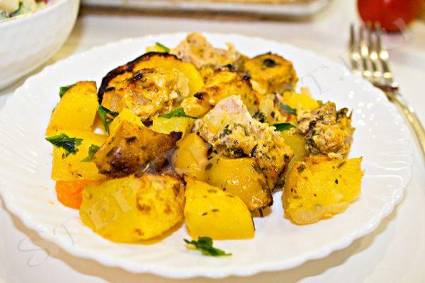 мясо с картошкой в духовке в форме