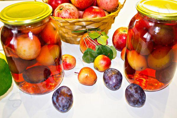 яблочно сливовый компот на зиму рецепты