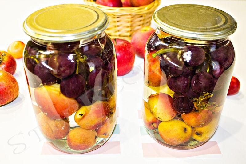 компот из яблок и винограда на зиму