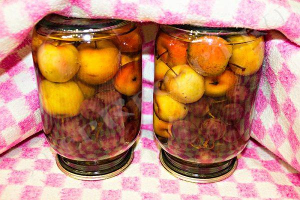 виноградно яблочный компот на зиму в банках